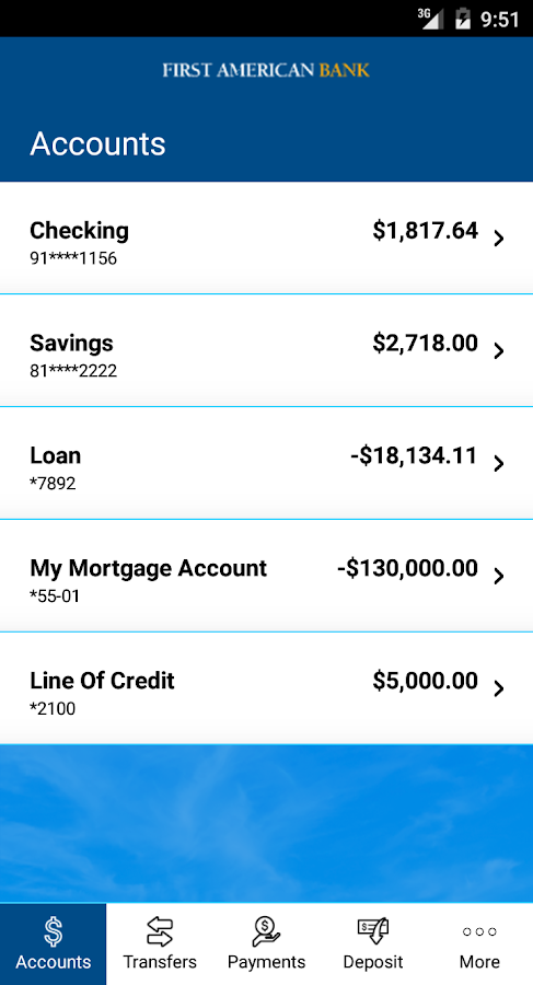 First American Bank Mobile- screenshot