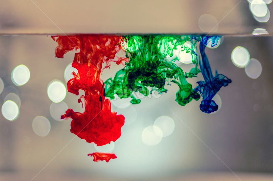 Red, green and blue food coloring with christmas lights ...
