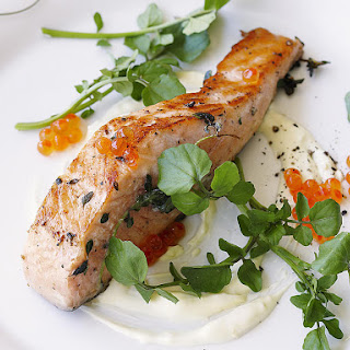 Seared Salmon with Lemon Creme Fraiche
