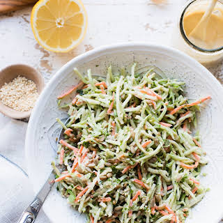 Broccoli Slaw with Garlic Tahini Dressing.