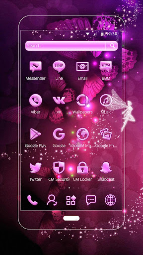 Pink Neon Purple Butterfly Theme ss2