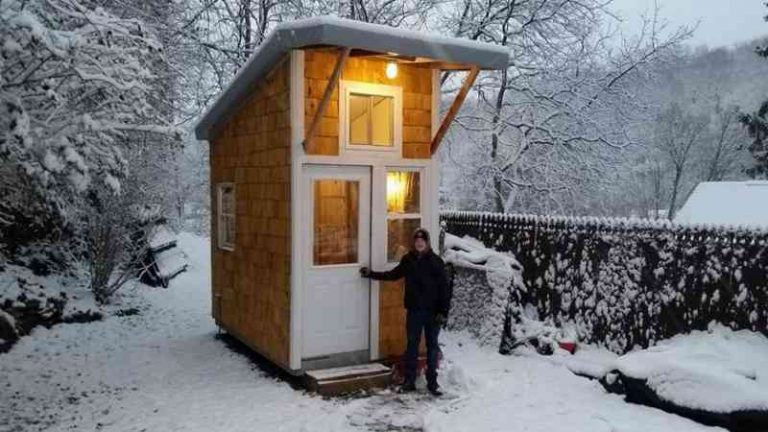 Young Boy Builds Tiny House In His Backyard