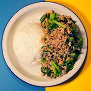 Stir-Fried Yu-Choy w/Impossible™ Pork & Roasted Peanut (VEGAN)