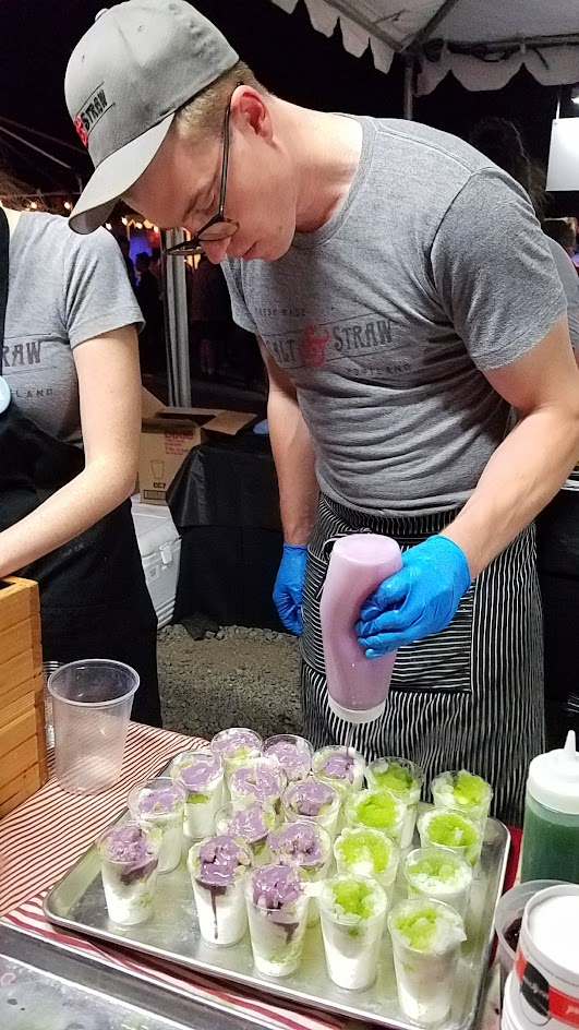 Feast PDX 2016 Night Market from Tyler Malek from Salt & Straw (Portland, OR): Sweet corn copo with lime zest shaved ice, Oregon sweet corn ice cream, cilantro kola syrup, more shaved ice, black raspberry sweetened condensed milk, and fresh candied marionberries