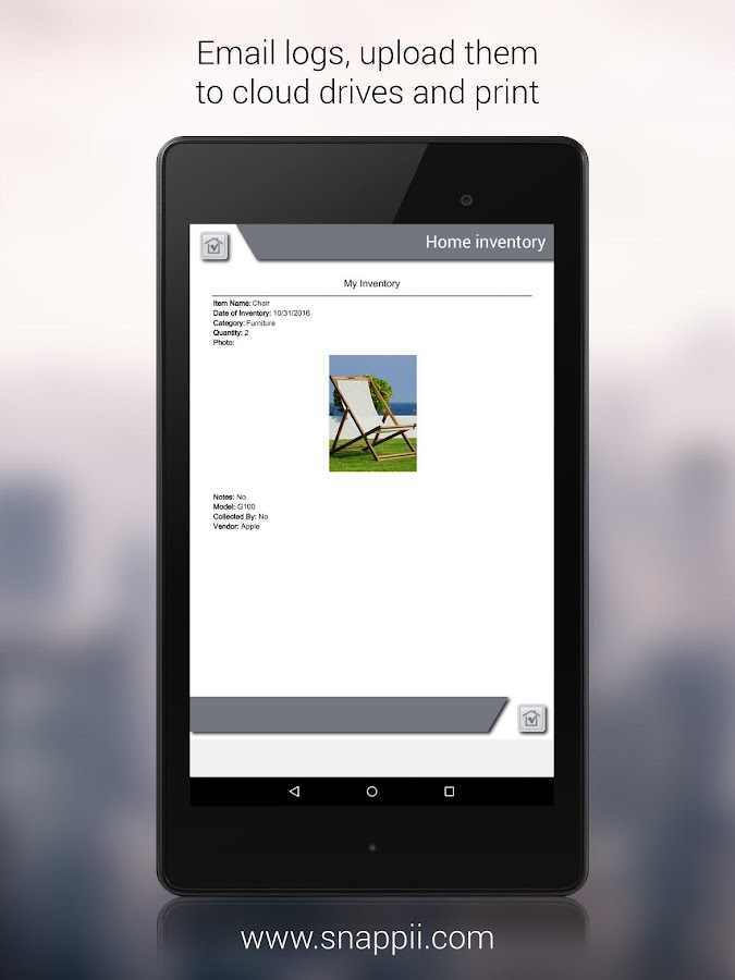 The Home Inventory App- screenshot