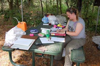 Photo: Thadra (MA, FSU Anthropology) doing paperwork at Salt Spring, Florida.