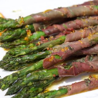 Prosciutto Wrapped Asparagus with Orange Dressing