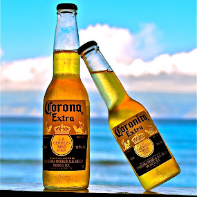 A  by Doug Wean - Food & Drink Alcohol & Drinks ( beer, abstract art, still life, digital art, pacific ocean, cloudas, corona beer, beach, artistic objects, abstract photography, ocean view, hawaii,  )
