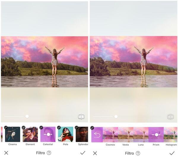 Foto da mulher com os braços abertos sendo editada pelo AirBrush com o filtro Prism