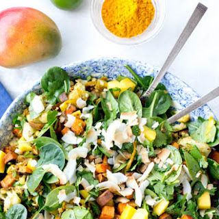 Spinach, Mango and Curried Sweet Potato Salad.