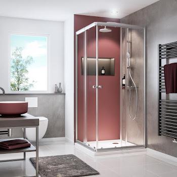 Accès d'angle avec portes coulissantes, 80-90 x 80-90 x 180 cm