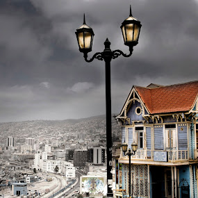 Stormy Weather by Jime Fernandez - City,  Street & Park  Historic Districts ( valparaiso chile )