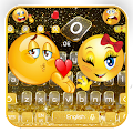 Black Glitter Emoji Keyboard Theme