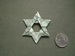 Photo: Model: Star Of David Money Fold;  Creator: Fred Rohm;  Folder: William Sattler;  1 dollar;  Publication: Making More With Money (OrigamiUSA) http://www.origami-usa.org/