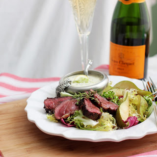 Duck Breast Salad with Pears and Roquefort Dressing.