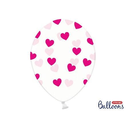 Ballonger - Crystal clear med rosa hjärtan.