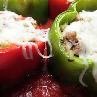 Stuffed Peppers with Sausage and Tomato Sauce.