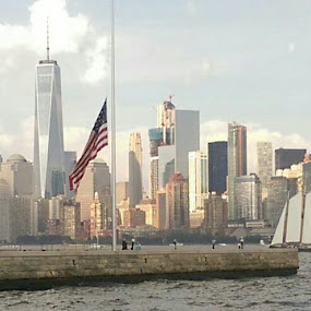 NYC skyline shot from Ellis Island by Stacey Witherwax - City,  Street & Park  Skylines