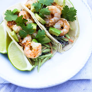 Chipotle Lime Shrimp Tacos with Creamy Avocado Broccoli Slaw.