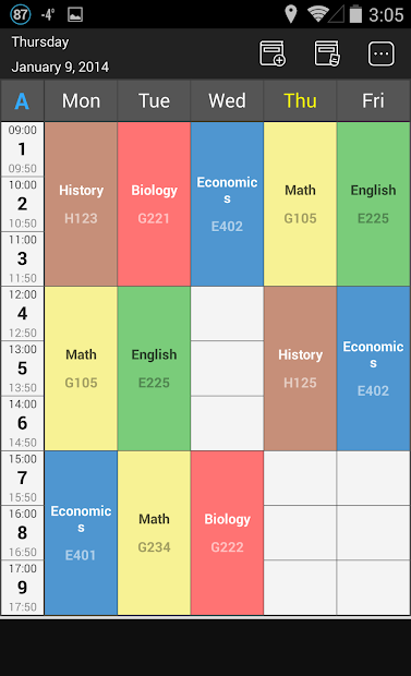 Handy Timetable Android App Screenshot