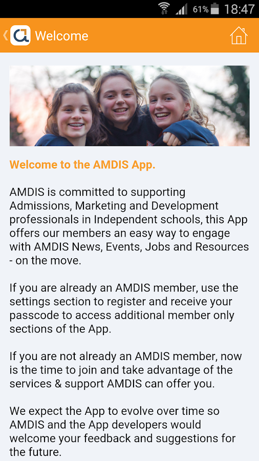 AMDIS Member App- screenshot