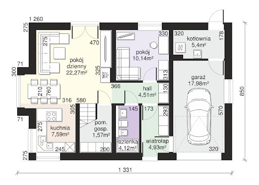 Dom przy Alabastrowej 41 - Rzut parteru