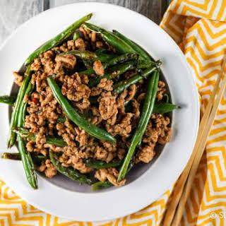 Spicy Ground Turkey and Green Bean Stir-fry.