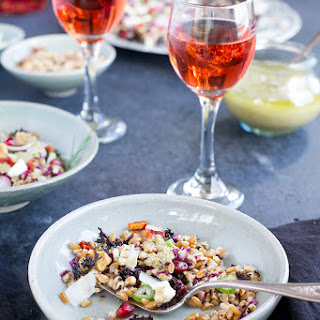 Mediterranean Farro Salad with Toasted Walnut Caper Vinaigrette