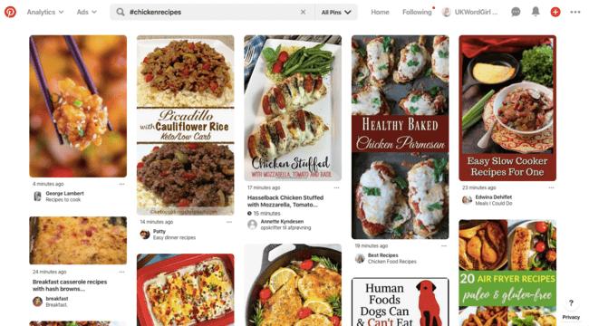 Chicken recipes hashtags