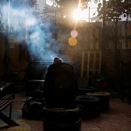 Winter Sunrise by Niman Shakya - Digital Art People ( sunrise, warm, smoke, winter, fire, cold )