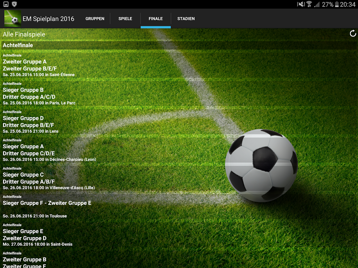 Euro Spielplan 2016- screenshot