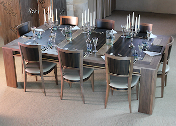 the lingfield dining table set for dinner in dining area