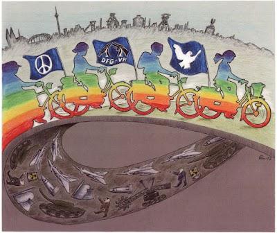 Grafik: Radfahren für Frieden.