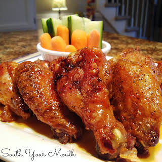 Crispy Baked Chicken Wings with Sweet Asian Hot Wing Sauce.