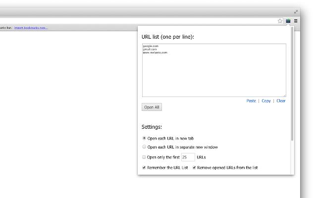 Bulk URL Opener Extension