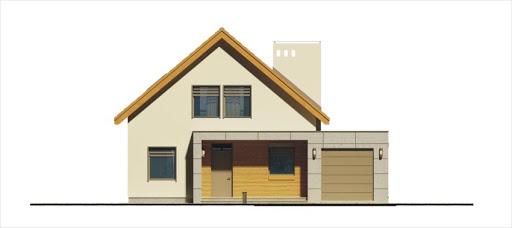 Alamo wersja B z pojedynczym garażem - Elewacja przednia