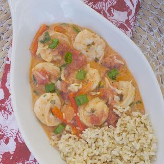 Garlic Shrimp in Coconut Milk, Tomatoes and Cilantro