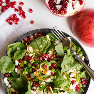 Spinach Pomegranate Salad with Clementine Vinaigrette.