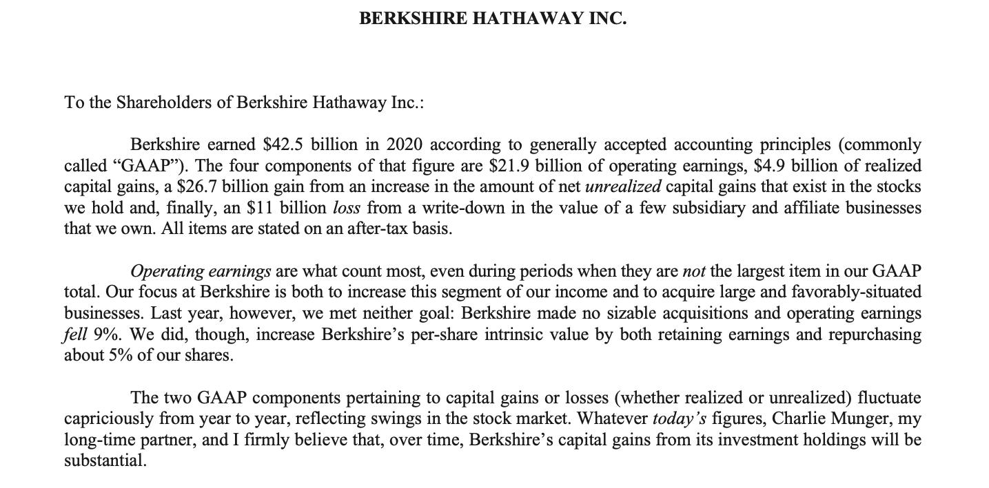 Warren Buffett letter to shareholders 2020 opening