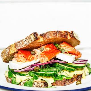 The Ultimate Hot Smoked Salmon Sandwich with roast garlic aioli.