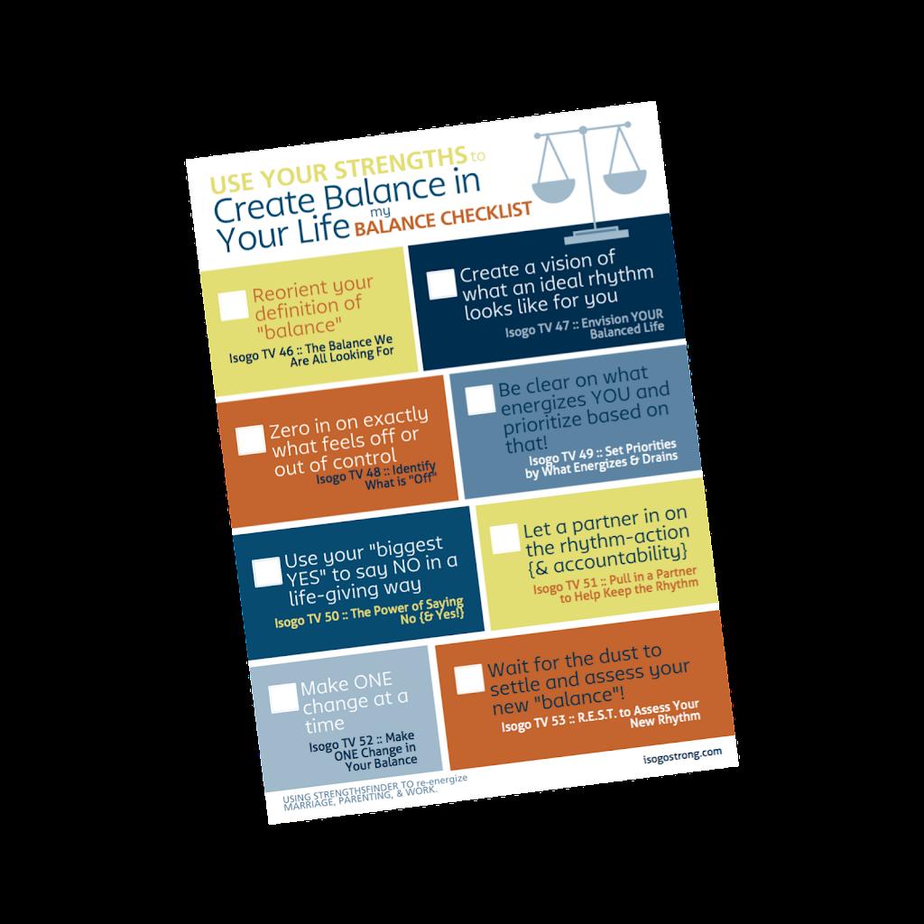 StrengthsFinder Balance Checklist