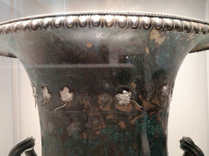 Photo: Bronze kalyx decorated with silver vine leaves, Macedonia