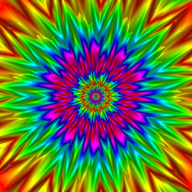 Rainbow flower by Cassy 67 - Illustration Abstract & Patterns ( digital, love, harmony, abstract art, fractal art, abstract, digital art, fractals, flower, fractal design, rainbow, classic, modern, light, fractal, energy )