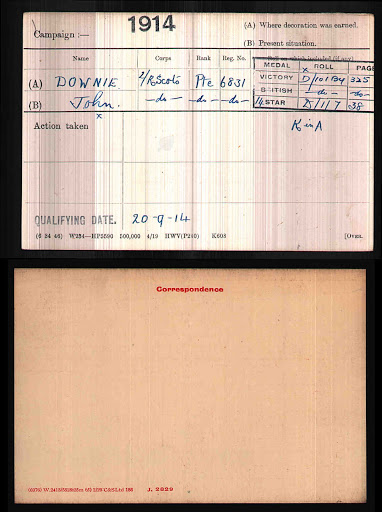 John Downie's Medal Index Card