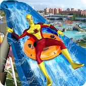 Super Hero Water Slide: Water Park Adventure Game