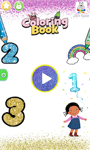 Glitter Number and letters coloring Book for kids 1