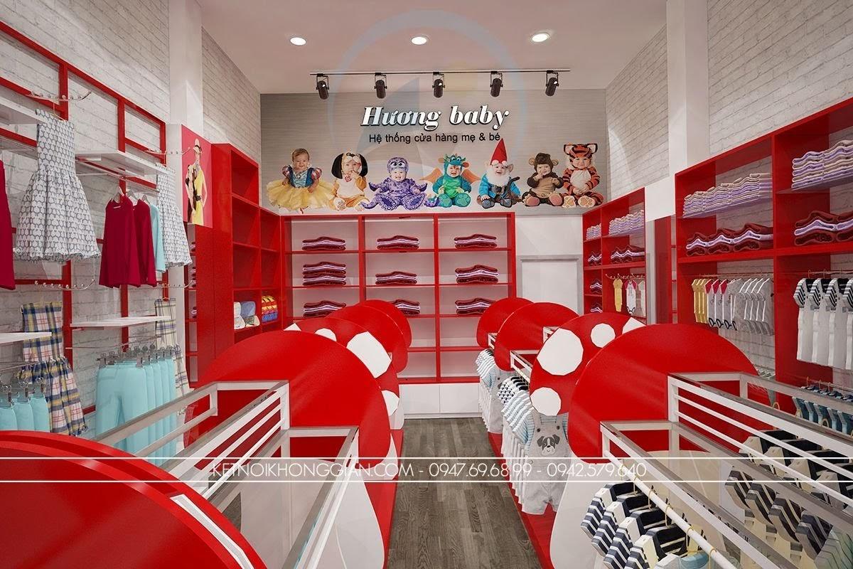 thiết kế shop thời trang mẹ và bé trẻ trung