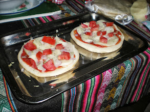 Photo: Some little pizzas we baked at home with pre-baked bread, pre-seasoned sauce, and actually some surprisingly good mozarella. Still better than a lot of the pizza found in Huaraz.