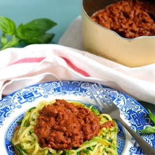 Courgette Tomato Basil Bolognese