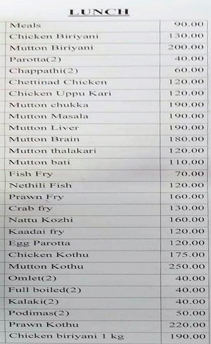 Mallika Chettinad Hotel menu 5
